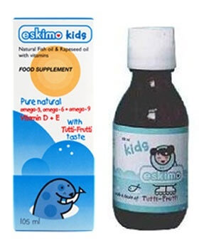 ESKIMO LITTLE CUBS Tutti Frutti Omega-3, 6 & 9 Fish Oil 105 ml Childrens Health > Eskimo Kids