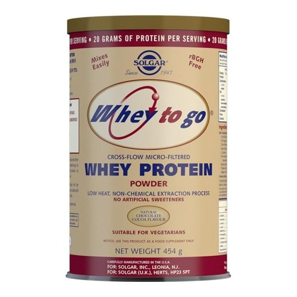Solgar Whey To Go Whey Protein Powder Natural Chocolate Flavour 454g Protein > Solgar Whey to Go