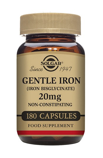 Solgar Gentle Iron 20 mg 180 Vegetable Capsules Minerals > Iron