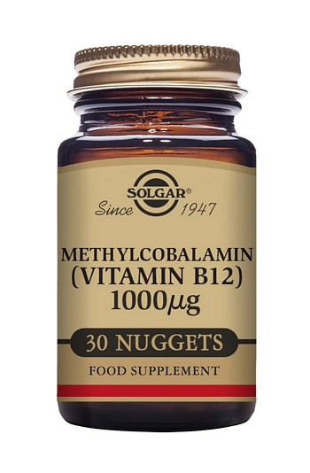 Solgar Vitamin B12 Methylcobalamin Sublingual 1000 µg 30 Nuggets Vitamins > Vitamin B12