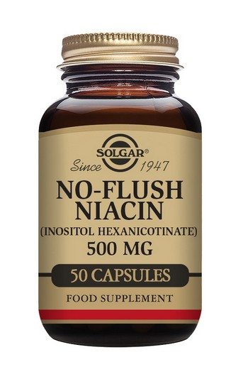 Solgar No-Flush Niacin Vitamin B3 500 mg 50 Vegetable Capsules