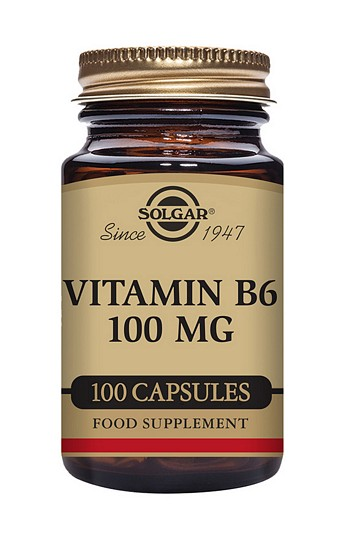 Solgar Vitamin B6 (Pyridoxine) 100 mg 100 Vegetable Capsules