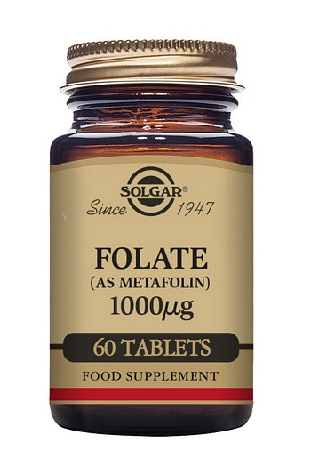 Solgar Folate Folic Acid 1000mcg  (as Metafolin) 60 Tablets
