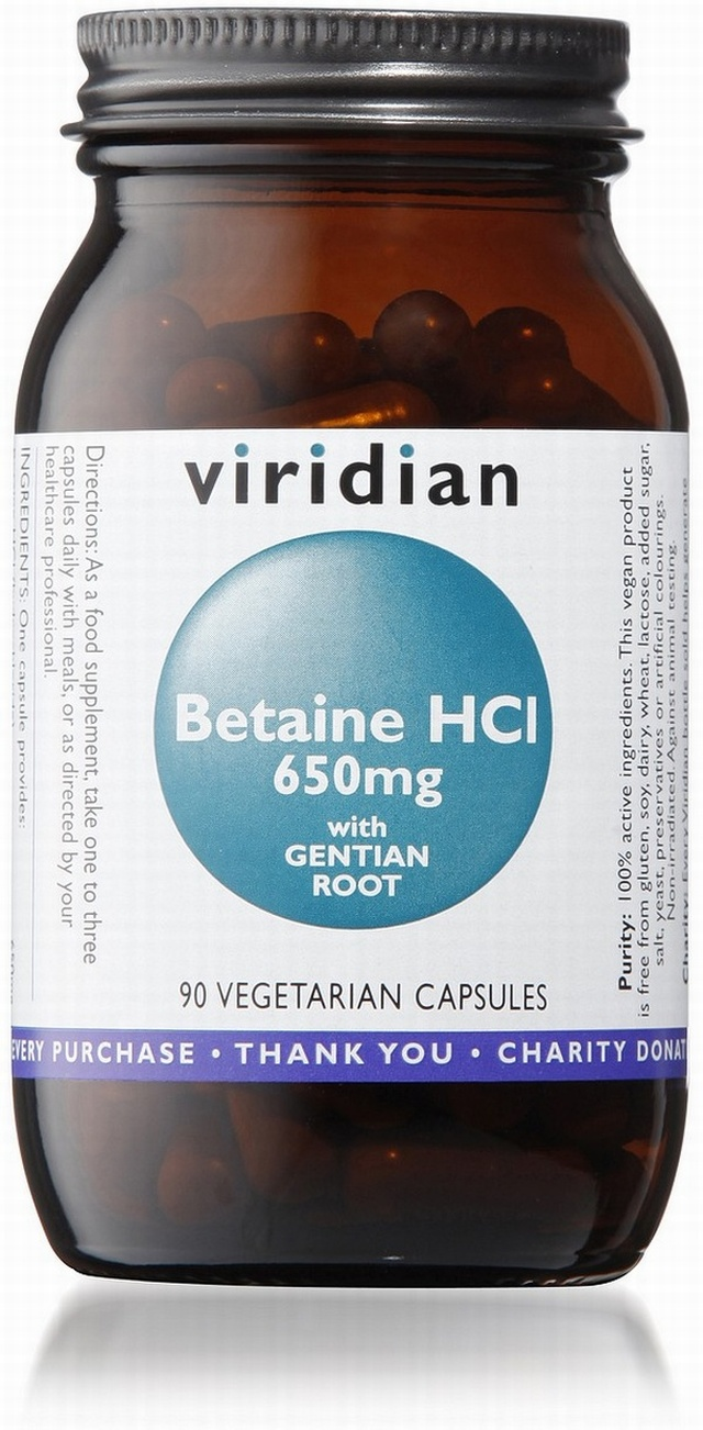 Viridian Betaine HCl 650mg with Gentian 90 Vegetable Capsules