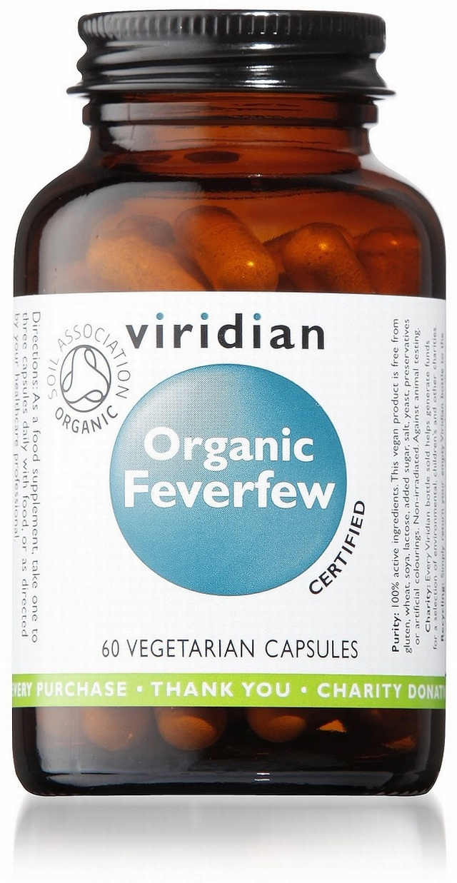 Viridian Organic Feverfew 350mg 60 Vegetable Capsules