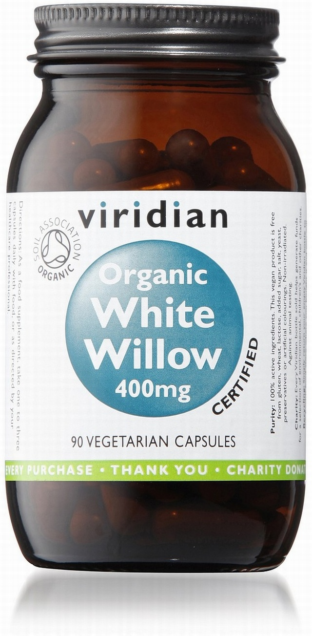 Viridian White Willow 400mg Organic 90 Vegetable Capsules