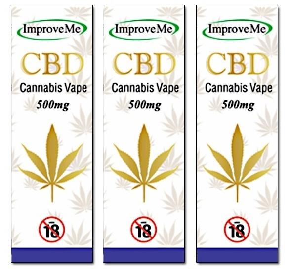 ImproveMe Organic CBD Cannabis Vape 500mg 3x10ml - TRIPLE PACK OFFER! from  www elixirhealth co uk