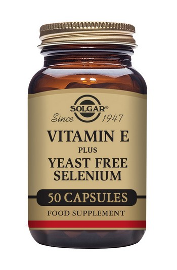 Solgar Vitamin E (168mcg) with Yeast Free Selenium (75mcg) 50 Vegetable Capsules
