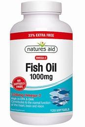Natures Aid Fish Oil Omega-3 1000mg 120 Capsules - SPECIAL OFFER!