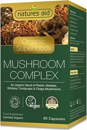 Natures Aid Organic Mushroom Complex 60 Vegetable Capsules