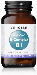 Viridian HIGH ONE Vitamin B1 with B-Complex 30 Vegetable Capsules