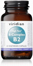 Viridian HIGH TWO Vitamin B2 with B-Complex 30 Vegetable Capsules